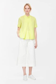 COS image 10 of Pleated front shirt in Neon Yellow