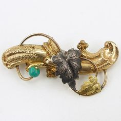 Antique Victorian Gold Filled Floral Bar Pin