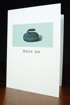 Paper Curling Card Rock On via Etsy Sports Humor, Funny Sports Quotes, Women's Curling, Olympic Sports, Winter Games, Wedding Crafts, Winter Olympics, Diy Projects To Try, Stone Painting