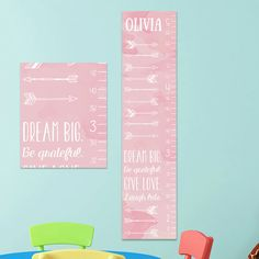 Arrow Growth Chart, Personalized Canvas Growth Chart, Arrow Nursery Decor, Arrow Nursery Art, Arrow Nursery, Pink Growth Chart, Grow Chart