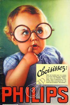Affiche Lampes Philips, Choisissez. Bébé, lunettes. in Collections, Calendriers, tickets, affiches, Affiches pub: anciennes   eBay