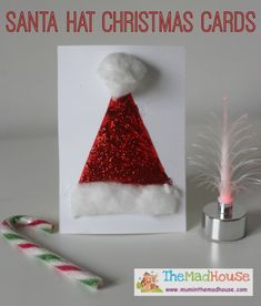 Santa Hat Christmas Cards - Mum In The Madhouse || Letters from Santa Holiday Blog || Santa Crafts Kids Can Make: 15 Fun Ideas! Perfect Christmas crafts for classroom or home!