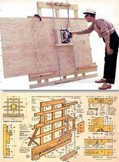 DIY Vertical Panel Saw - Circular Saw Tips, Jigs and Fixtures - Woodwork, Woodworking, Woodworking Plans, Woodworking Projects Woodworking Jigs, Carpentry, Woodworking Projects, Serra Circular, Panel Saw, Homemade Tools, Wood Tools, Tool Storage, Wood Crafts