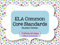"already created ELA ""I can's"" for common core 2nd grade"