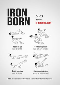 Ironborn - 30 day muscle definition dumbbell program by darebee. Darbee Workout, Workout Days, Dumbbell Workout, Workout Challenge, Iron Man Workout, Kettlebell, Muscle Fitness, 30 Day Fitness, Training