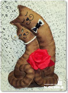 Купить Влюбленные котики-неразлучники,свадебные коты,кофейные кошечки - коричневый, котики, семья