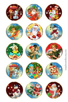 Digital Collage Sheet Vintage Christmas New Year 1 inch round Images Original Printable inch sh Christmas Ribbon, Noel Christmas, Christmas Items, Christmas And New Year, Christmas Presents, Vintage Christmas, Christmas Crafts, Christmas Bulbs, White Christmas