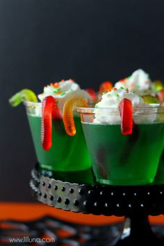 Creepy Gummy Worm Jello Cups - great idea for Halloween or for scouts Nature treat