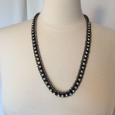 """Stella & Dot sparkly long necklace Two tone metal, antique silver and gold with crystals. Can be worn all sorts of ways. Knotted, layered, wrapped on wrist etc. 26 1/2"""" long. Stella & Dot Jewelry Necklaces"""