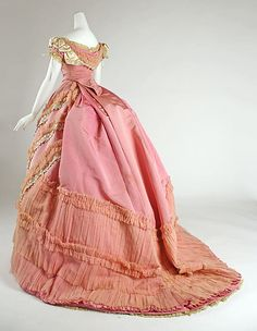 Pink silk ball gown with lace and ruched trim (back), French, ca. 1868.