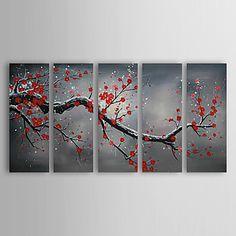 prune peintures à l'huile d'hiver peinte à la main d'art de toile ensemble de 5 prêt à accrocher – USD $ 116.99