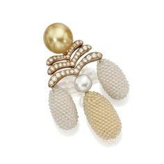 Hemmerle. Rock crystal bead & pearl brooch...♡