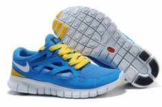 cheaper e7399 ccf8c Women Nike Free Run+ 2 Blue Yellow Shoes Blue Yellow, Yellow Shoes, White  Shoes