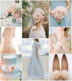 blush and powder blue, very pretty and soft