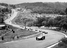 Belgian Grand Prix: Spa has been chopped, changed and shortened over the years but one constant feature has been the run down from La Source into the famous Eau Rouge. From 1950 until 1970 the start/finish line was after the La Source hairpin which may explain why there are still people on the track at the very top of the picture at the start of the 1956 Grand Prix.
