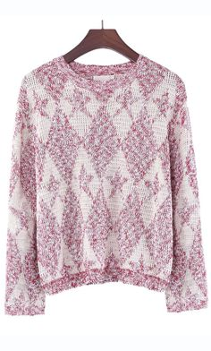 Lovely sweater...Only on Ahai! #gold #string #diamond  #pattern #casual #Christmas #sweater #red #pink #ahai @Ahai