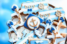 Baby Shower Themes, Baby Boy Shower, Baby Shower Decorations, Marina Blue, Baby Boy 1st Birthday, Gold Balloons, Blue Gold, Octopus, Cake Pops
