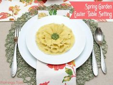 Flamingo Toes. Spring Garden Easter Table Decor.                                                                          How to make a ruffle flower.
