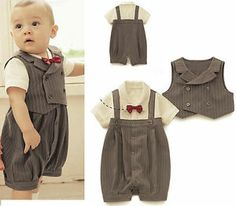 Intelligent Baby Boy's Clothing Wedding Christening Tuxedo Suit Outfit Gray