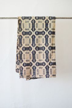 Vintage Primitive Tan Indigo Woven Throw Blanket [Vintage Primitive Woven Blanket] : ORN HANSEN, Vintage + American Made General Store