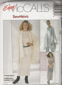 McCall's 2351 Size 12-14 ,16-18 or 24-26 Sew News Cape, Dress/Top, Pull- on…