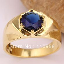 Black Onyx Blue Sapphire White Topaz for Choice Yellow Gold Filled Men's 925 Sterling Silver Ring MAN GFS Size 10 11 12 13 R515G
