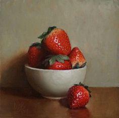 "Daily Paintworks - ""Bowl of Strawberries"" - Original Fine Art for Sale - © Debra Becks Cooper Strawberry Drawing, Strawberry Art, Strawberry Recipes, Fruit Painting, Oil Painting Abstract, Oil Paintings, Painting Clouds, Painting Wallpaper, Painting Flowers"