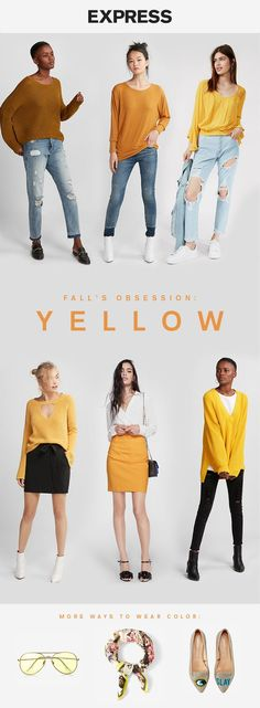 Trending this fall: mustard yellow Shop Express for mustard yellow sweaters, skirts and cardigans.