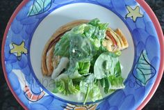 salad topped fococcia pizza thepaintedapron.com