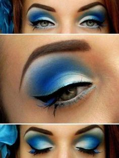 Blue eye make up doesn't need to be tacky. Here is proof. Blue Eye Makeup, Love Makeup, Makeup Tips, Makeup Looks, Hair Makeup, Blue Eyeshadow, White Makeup, Peacock Makeup, Makeup Lessons