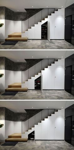 Design Detail: Stairs With Hidden Storage And A Powder Room Design Detail: Stairs With Hidden Storage And A Powder These modern stairs have hidden storage cabinets beneath them. Shelves Under Stairs, Room Under Stairs, Staircase Storage, Stairs In Living Room, Stair Storage, House Stairs, Hidden Storage, Diy Storage, Staircase Ideas