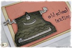 Sizzix: Die Cutting Inspiration and Tips: Quick Cards with Tim Holtz Minis Vintage Phones, Vintage Telephone, Tim Holtz Dies, Sizzix Dies, Quick Cards, Diy Cards, Retro Typewriter, Typewriters, Masculine Cards