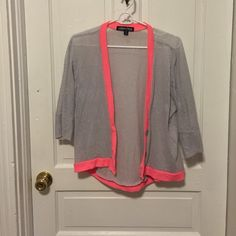 Light Gray Cardigan with Hot Pink Accents Light gray 3/4 sleeve length cardigan. Hot pink accents. Super cute! Great condition! Living Doll Sweaters Cardigans