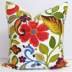FLORAL PILLOW.FLOWERS.16x16 inch.Decorator Pillow Cover.Housewares.Home Decor.Red.Orange.Green.Indoor.Outdoor.Cushion Covers.Pillow Covers on Etsy, $14.63 AUD