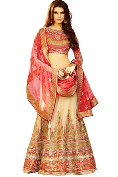 Fashionable Beige Lehenga Choli Set