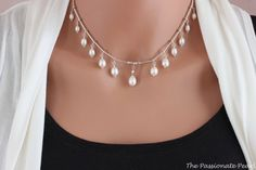 Graduated Princess Freshwater Pearl Necklace #Jewelry #Freshwater #Pearls  #Elegant #Silver  #Sterling #white #wedding