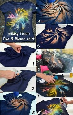 Galaxy Twist Dye Bleach Shirt DIY - cool tye dye concept Supplies can be found at www. Bleach Shirt Diy, Diy Tie Dye Shirts, Diy Shirt, Tie Dye With Bleach, Tye Dye Bleach, Bleach Pen, Diy Tank, How To Tie Dye, How To Dye Fabric