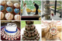 Baseball themed wedding cakes and cookies