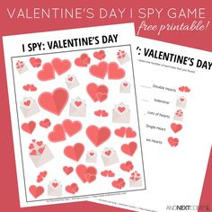 Free printable Valentine's Day I Spy game for kids from And Next Comes L