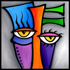 Thomas C. Fedro | Art: Faces1157 1818 Original Abstract Art Painting Peepers by Artist ...