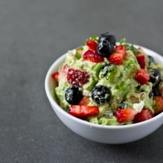summer guacamole with strawberries, blueberries, goat cheese, and more!