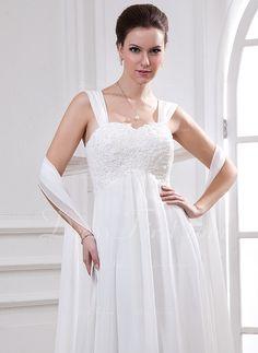 Império Coração Cauda watteau De chiffon Vestido de noiva com Renda Bordado (002011765)