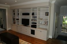 Built tv wall unit designs great in decoration living room medium cabinet m Built In Wall Shelves, Built In Wall Units, Ikea Built In, Built In Storage, Build Shelves, Drawer Storage, Wall Storage, Grey Shelves, Book Shelves