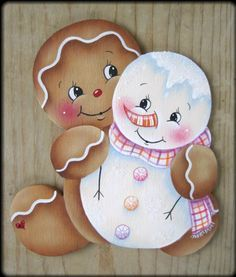 The Decorative Painting Store: Sweet Pals Ginger Ornament Pattern, Pamela House Gingerbread Ornaments, Gingerbread Decorations, Christmas Gingerbread, Christmas Wood, Christmas Decorations, Christmas Ornaments, Christmas Snowman, Tole Painting Patterns, Wood Patterns