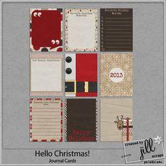 Hello Christmas! - Journal Cards  #digiscrap #digitalscrapbooking #Christmas #holidays #crafts #createdbyjill