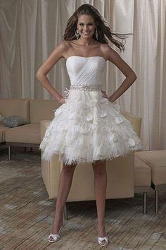 9010af8885 2016 New White Ivory Custom Made Strapless Beaded Sash A-Line Feather Short  Wedding Dresses Bridal Gowns vestido de noiva