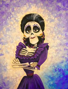 Previously posted acrylic painting enhanced with new digitally-colored border. Disney And Dreamworks, Disney Pixar, Halloween Jelly, Drawing Sketches, Art Drawings, Day Of The Dead Artwork, Disney Doodles, Disney Sleeve, Zombie Monster