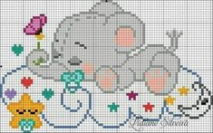 This Pin was discovered by Ana Baby Cross Stitch Patterns, Cross Stitch Baby, Cross Stitch Animals, Cross Stitch Charts, Pixel Crochet Blanket, C2c Crochet, Crochet Baby, Cross Stitching, Cross Stitch Embroidery