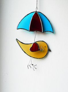 Stained Glass umbrella, Bird Suncatcher, red and blue hanging gift, Handmade unique gift, house warming, window panel art decor, Birthday, by BelleVerreBon on Etsy