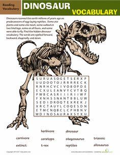 Worksheets: Dinosaur Word Search